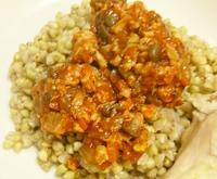 (86)蕎麦の実(そば米)のリゾット 平茸とチキンのラグー添え