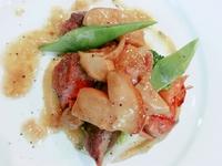 イベリコ豚のローストをさつま芋とポルチーニのソースで