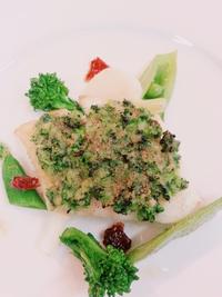 天然平目の菜の花ソース焼き