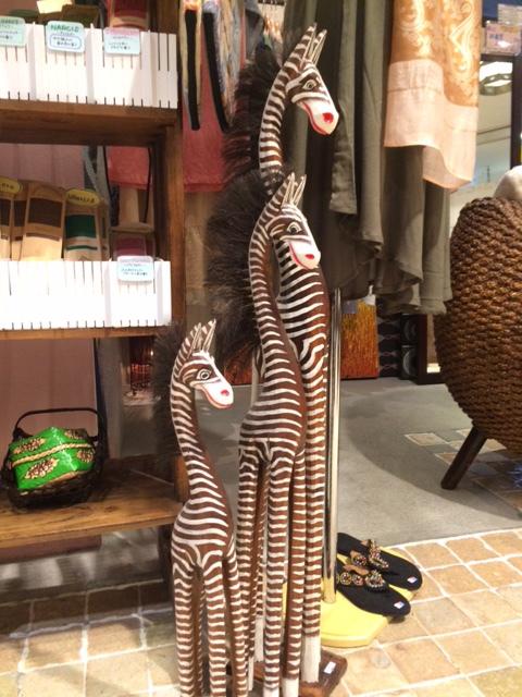 木彫りシマウマオブジェ