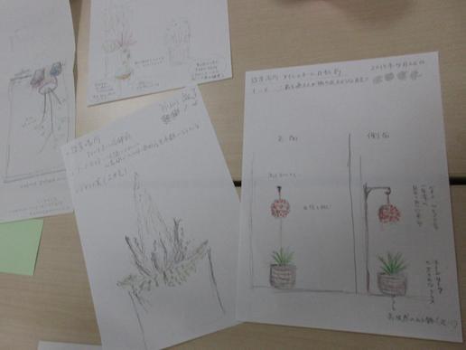 まちなみづくりセミナーで研究学園駅前の不動産屋さんに置く寄せ植えをデザインしました!