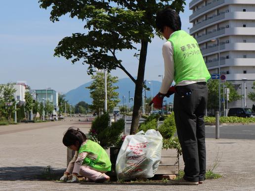 研究学園駅周辺花壇の手入れを行い「MYU・MYU」前も華やかになりました!