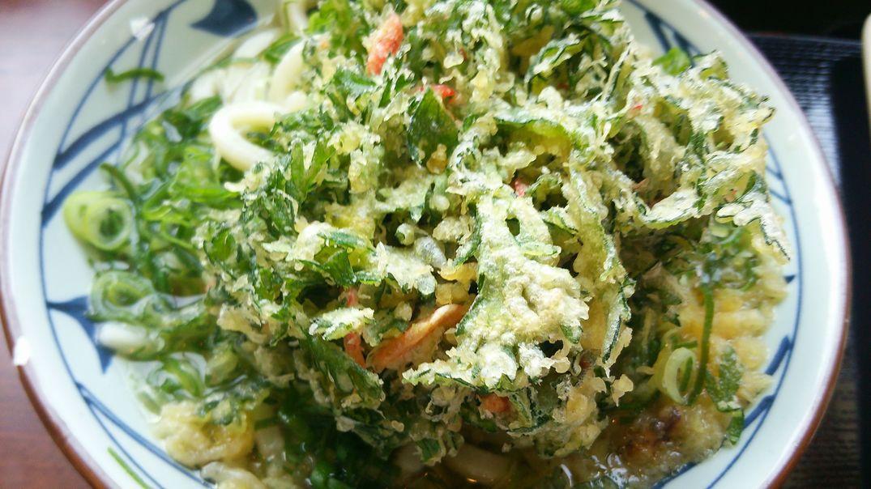 研究学園 丸亀製麺で「春菊と小エビのかき揚げ」をいただく!
