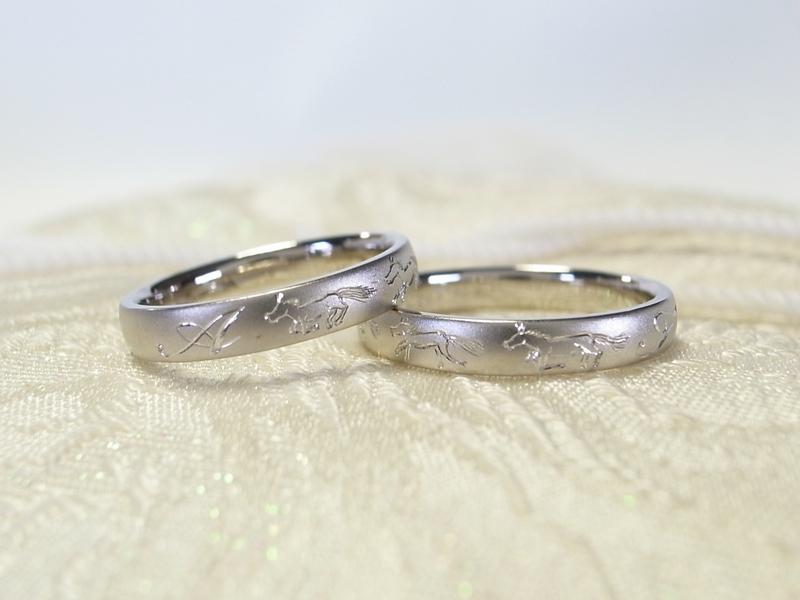 馬モチーフ☆和彫りの結婚指輪