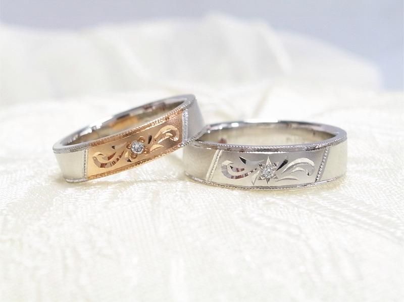 手作り結婚指輪★ホットロードの和彫リング