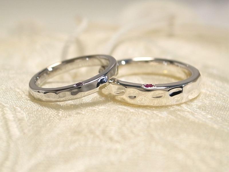 愛のハンマー仕上げ★自分達で作る手作り結婚指輪