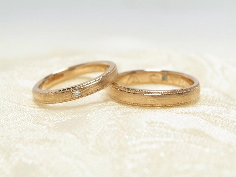 ビンテージテイストのピンクゴールドマリッジ★手作り結婚指輪制作