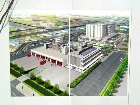 新しい「つくば市消防本部」と「中央消防署」の建物が姿を現してきた!