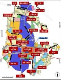 研究学園駅地区の交差点名称&都市計画道路名称マップの最新版!