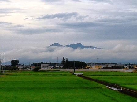雲の中から顔を出す筑波山!