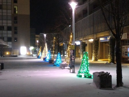 銀世界の研究学園駅前!
