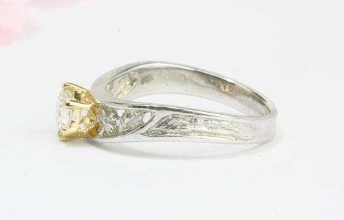 桜彫りのダイヤモンドリング アート