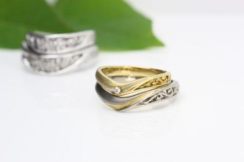桜彫りの結婚指輪 マーノオリジナル「桜小町」茨城県桜川市宝石店