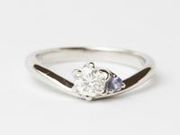 ダイヤモンド婚約リング オーダー 12月の誕生石タンザナイト  茨城県桜川市宝石店