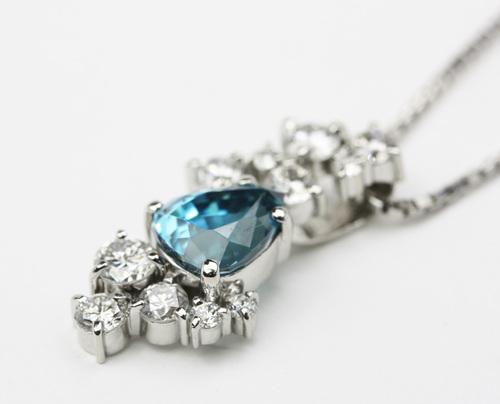 希少石 ブルージルコンのダイヤモンドペンダント オーダー 茨城県桜川市宝石店