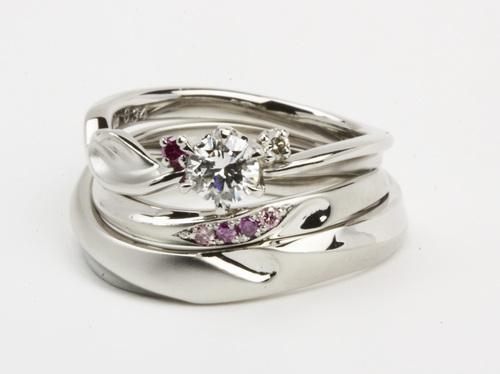 結婚指輪,ダイヤモンドリング3点セット ハート 茨城県桜川市宝石店