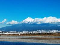富士川を渡る新幹線から富士山を見る!