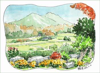 『鴨亭』から筑波山