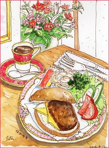 「カフェ・なかやま・本店」のハンバーガー