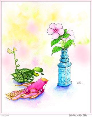 日々草と小鳥の置物