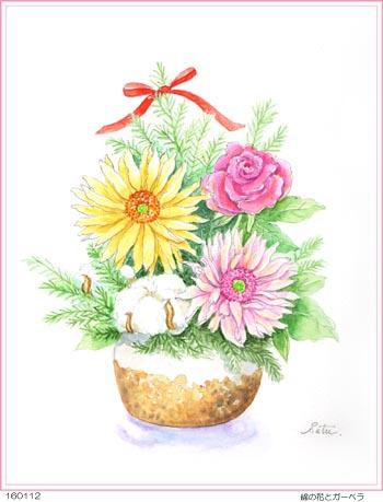 綿の花とガーベラ