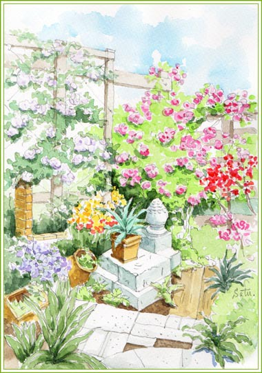 「オープンローズガーデン」丸い置物のある庭