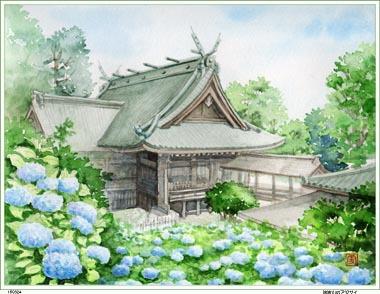 筑波山神社とアジサイ