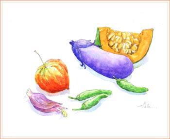 ホオズキと夏野菜