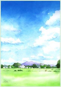 夏の空と筑波山