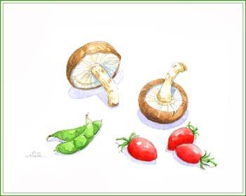シイタケ・枝豆・ミニトマト