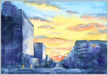 つくば市「さくら大橋」からの夕日
