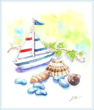 夏の雑貨・ヨット・着色