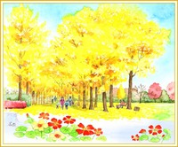 万博記念公園のイチョウ並木
