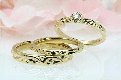結婚指輪 マーノの新作 波文様