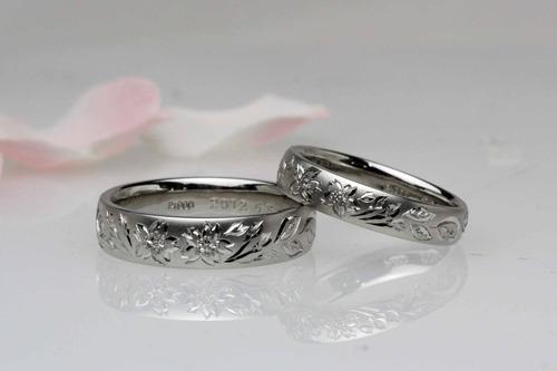 桜彫りの結婚指輪