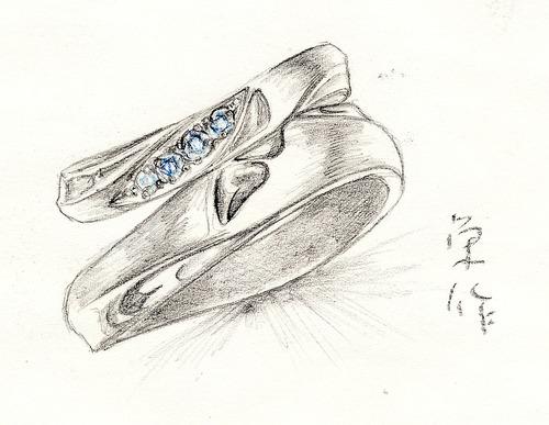 羽根モチーフの結婚指輪
