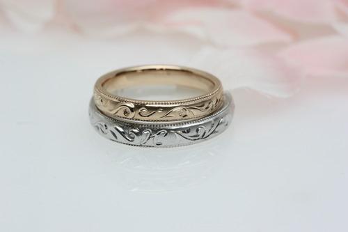 唐草文様の結婚指輪