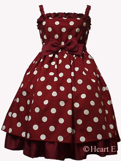 Heart E定番のPOPな水玉フリルとリボンのドレス