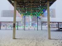 大雪に見舞われた日の研究学園駅前の様子!