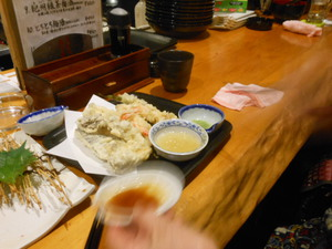 飲み放題にご招待お刺身と天ぷら
