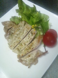 ロース肉のバジルステーキ